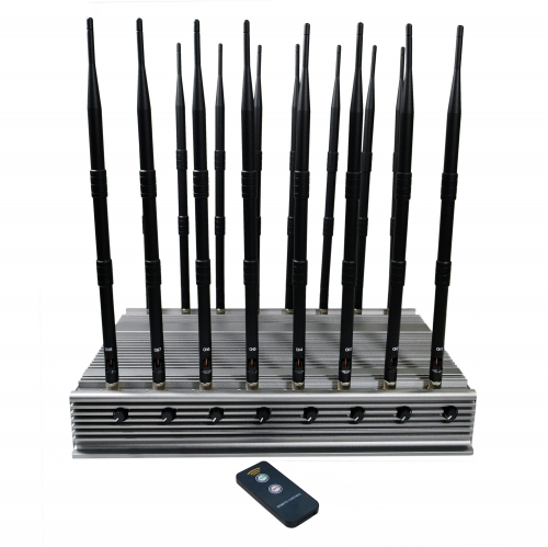 108 Watt World First 16 bands All-in-one Powerful cellphone WIFI 5G GPS LOJACK UHF VHF signal Jammer with 16 Antennas indoor using Adjustable With Infrared Remote Control jamming up to 100M