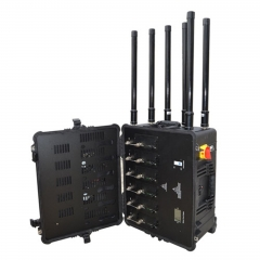 High Power Portable Pelican Case Drone Signal Jammer ,UAV signal blocker 2.4G GPS Jamming Up to 1500M